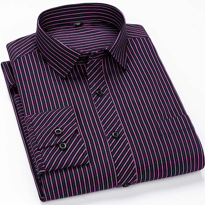 الرجال الأعمال عارضة قميص بأكمام طويلة الكلاسيكية مخطط الذكور الاجتماعية قمصان صالح سليم كبير حجم 2XL 3XL 4XL الأرجواني