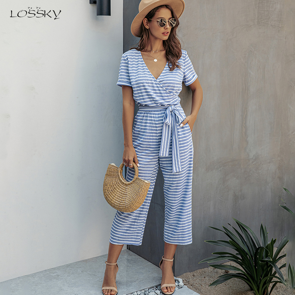 Striped Romper Wide Leg Jumpsuit Pants Women Black Summer Tops One Piece Long Pantsuit Casual Ladies Blue Clothing Overalls 2020