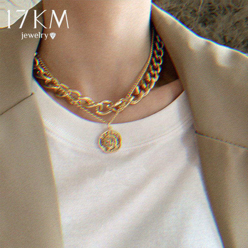 17KM Retro Portrait Coin Pendant Big Thick Chain Necklace For Women Exaggerated Chain Choker Geometric Round Necklaces Jewelry