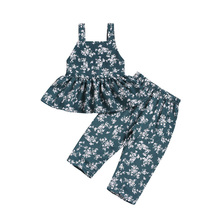 Kids Girls Clothing Sets Summer New Style Baby Sling Backless Top +long Pants Suit