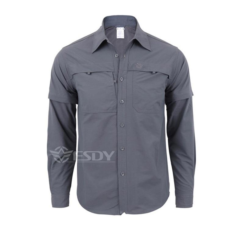 Мужская быстросохнущая рубашка на открытом воздухе Съемная с длинным/коротким рукавом дышащая походная Военная Маскировочная рубашка Спортивная одежда - Цвет: grey