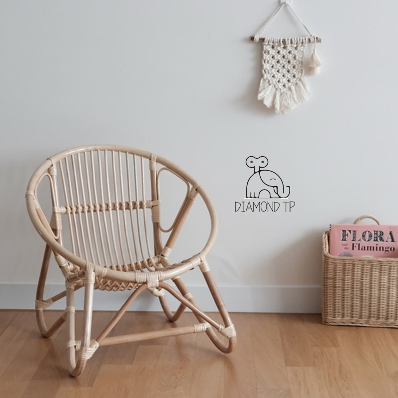 Nordic Home Furniture 100% Handmade Kids Chair For Living Room Children's House Decoration Rattan Weaving Chair Countryside