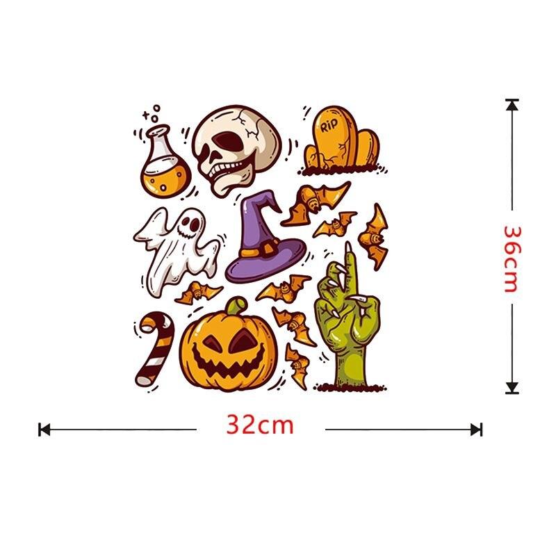 Мультфильм милый Хэллоуин стикер стены водонепроницаемый самоклеющиеся ПВХ наклейки для домашнего декора череп Тыква украшения - 6