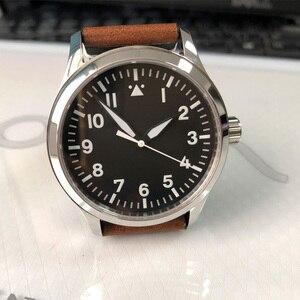 Image 3 - 42mm mens אוטומטי שעון לבן סימן עור עצמי Winding ספורט זכר שעון ספיר חיוג סטרילי SS מכאני שעוני יד