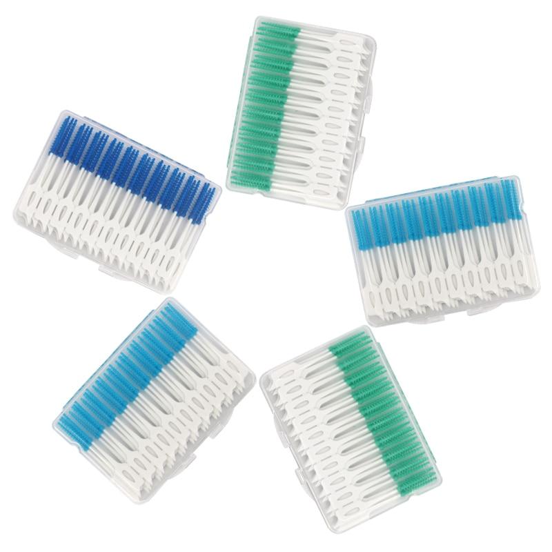 40pcs/80pcs Dental Interdental Brush Double Floss Head Hygiene Toothpick Brush Flossing Teeth Cleaning Tools
