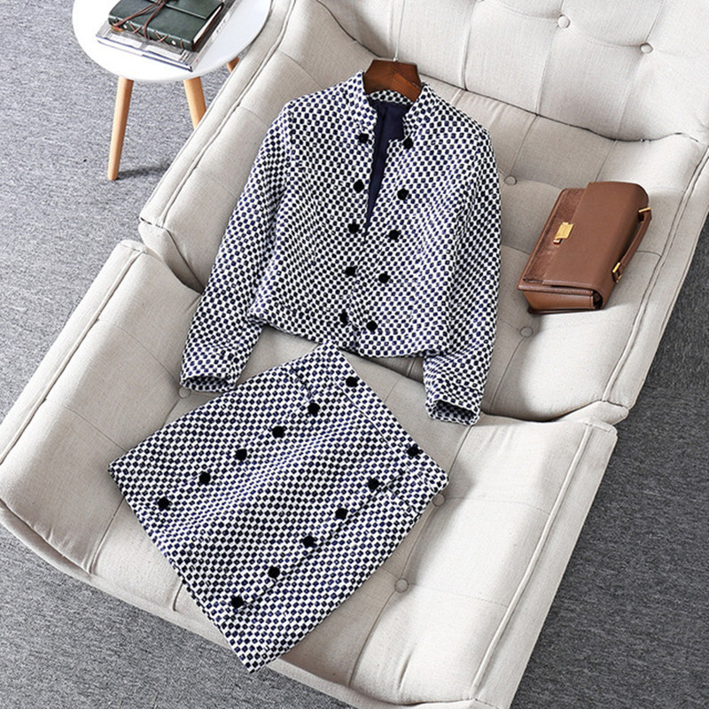 Tweed Skirt Suit For Women Vintage Runway Luxury Design 2019 New Arrival Autumn Winter 2 Two Piece Set Wool Blazer Jacket Outfit
