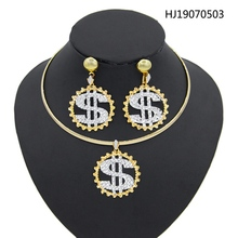 Yulaili Unique Trendy African Jewelry Sets Turkish Women Round Shape Pendant Necklace Earrings Gift Party Accessories Wholesale