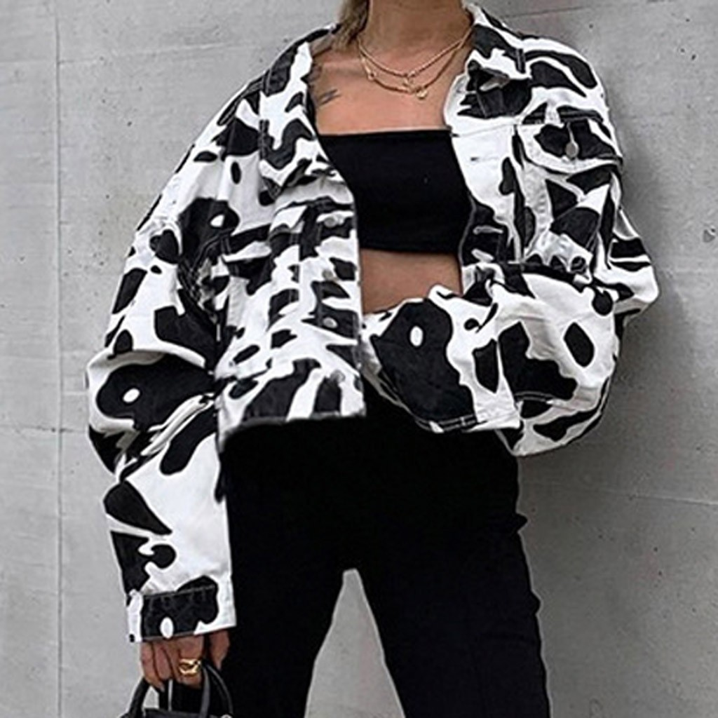 Animal Print Denim Jacket Women White Black Coat Short Long Sleeve Button Pockets Jeans Crop Jacket Animal Print Denim Jacket Women White Black Coat Short Long Sleeve Button Pockets Jeans Crop Jacket Ladies Winter Fall