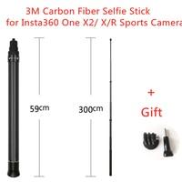 Ultra-larga 3M de fibra de carbono Invisible palo de Selfie para Insta360 una X2/ X/R de la Cámara de deportes plegable trípode/palo Selfie accesorio