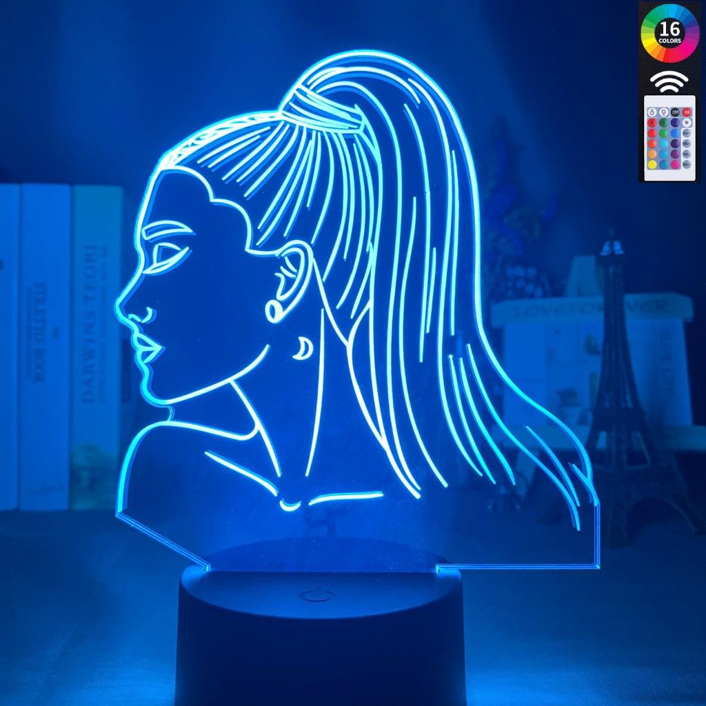 3d Acrylic Night Light Singer Ariana Grande Gift Touch Sensor Color Changing Work Desk Lamp Celebrity For Fans Bedroom Decor