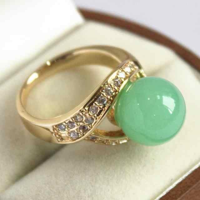 เลดี้น่ารัก 18KGP ตกแต่งด้วยคริสตัลและ 12 มม.แหวนหยกสีเขียว (#7 8 9 10)