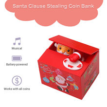 Santa clausethief caixas de dinheiro de brinquedo mealheiros presente crianças caixas de dinheiro automático roubou moeda mealheiro caixa de poupança de dinheiro moneybox