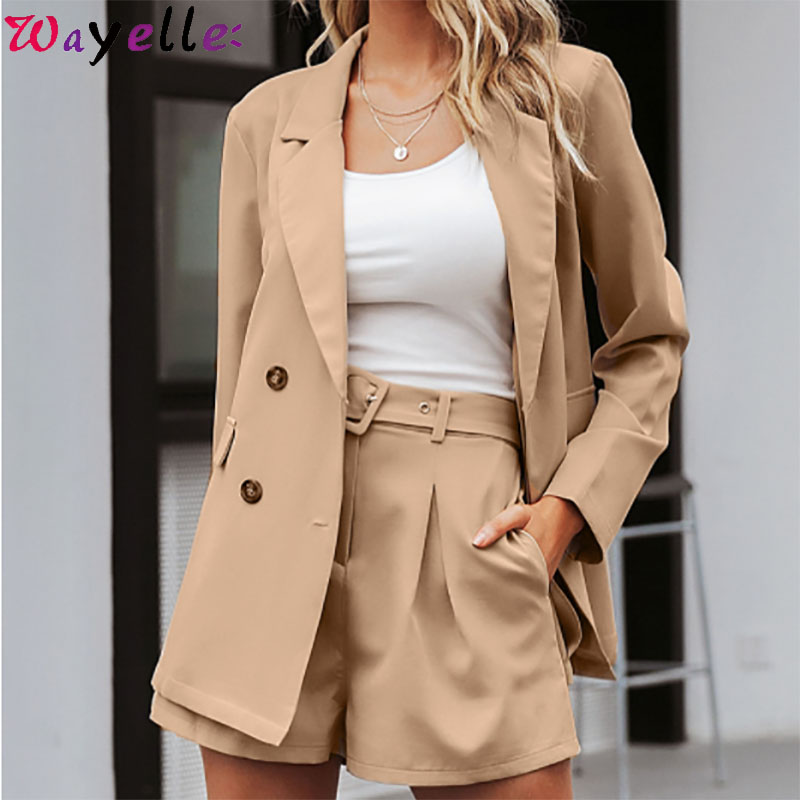 Elegant two-pieces women short blazer suit Casual streetwear female blazer sets Chic 2019 office ladies women blazer suits