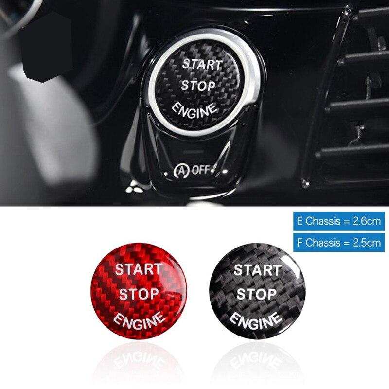 For BMW E70 X5 E71 X6 E81 E90 E91 E60 F30 F35 F10 F11 F01 F15Carbon Fiber Car Engine Start Stop Switch Button Trim Cover Sticker