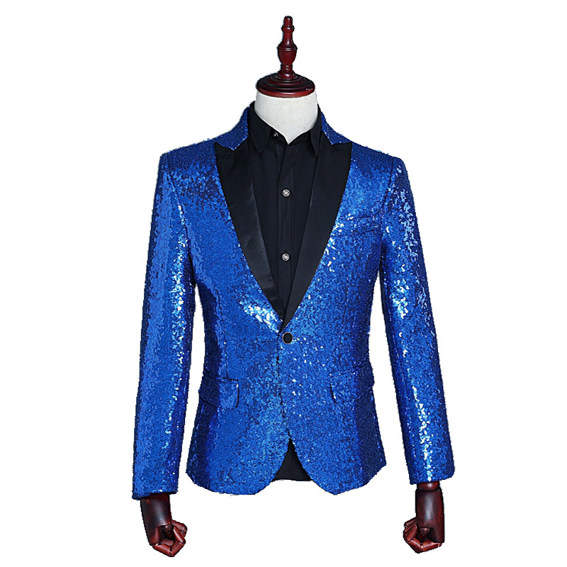 2019 Trendy Men's Suit Multicolor Fashion Sequins Slim Casual One  Button Lapel Business Suit Jacket Can Use Of  Prom Club Party