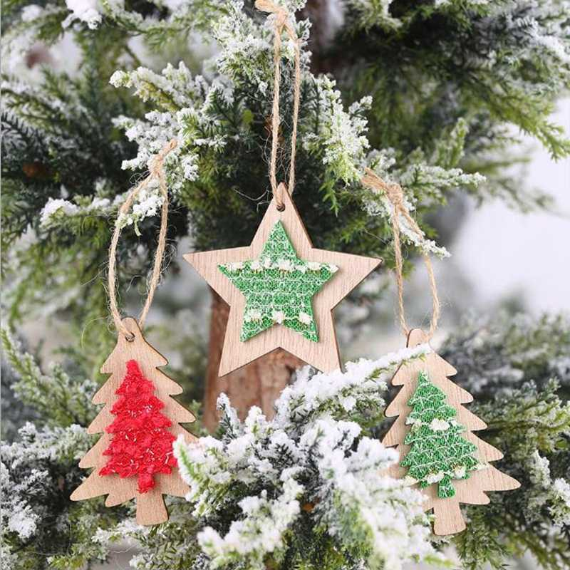 1pcs 2019 decorative items wooden cloth stickers pendant creative five-pointed star Christmas tree ornaments ornaments Christmas new products