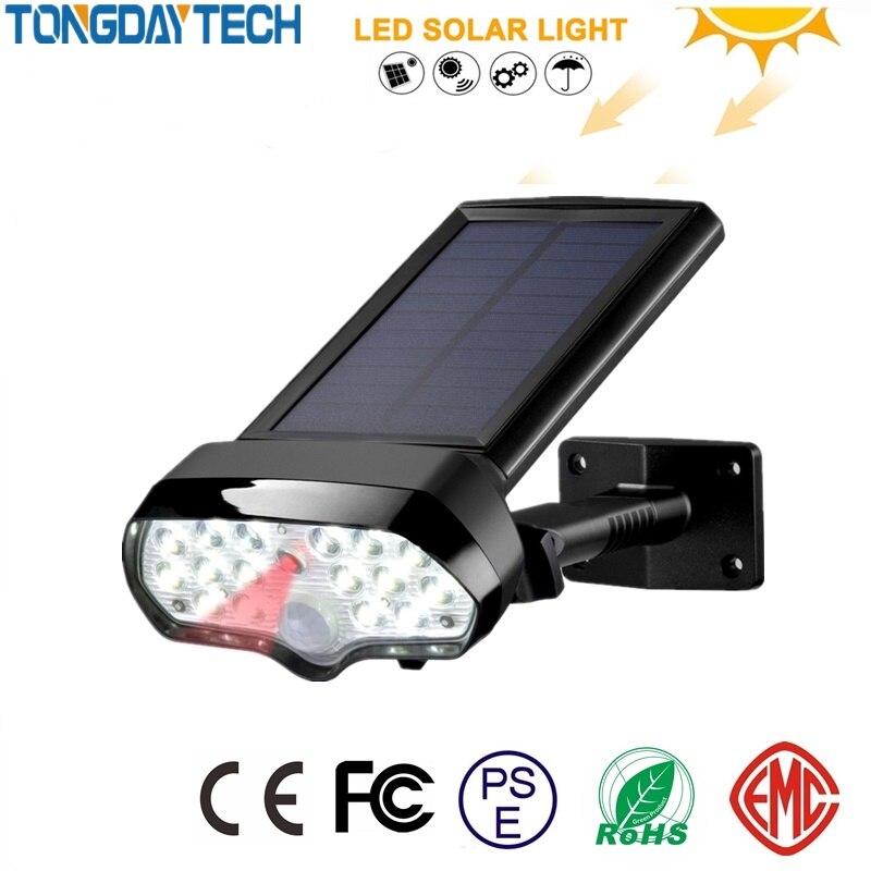 TONGDAYTECH Solar Light PIR Motion Sensor Lights Waterproof Solar Powered Spotlights Wall Lamp For Outdoor Garden Decoration