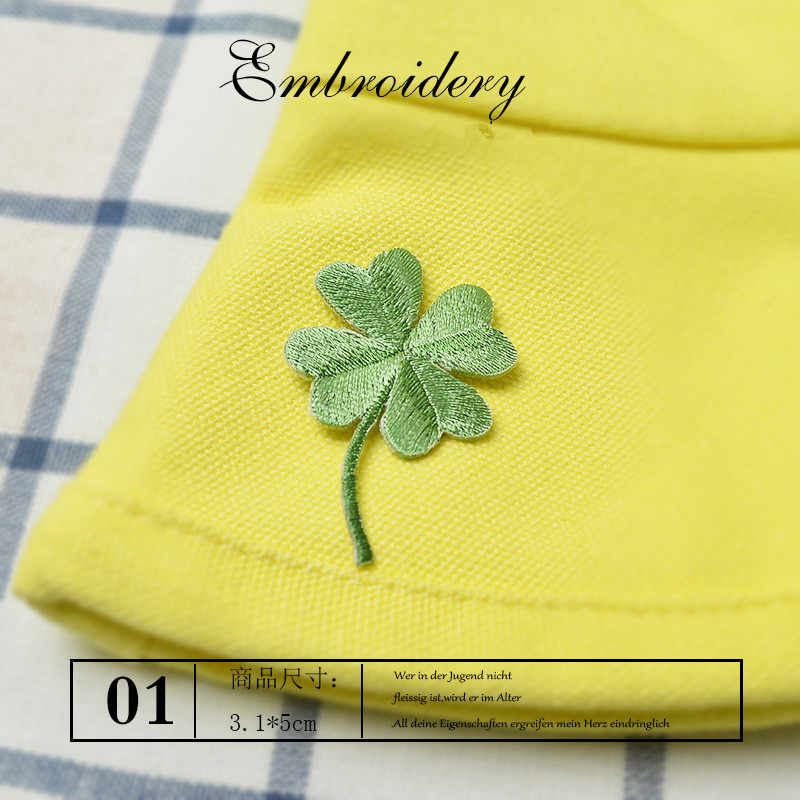 Lucky Clover Embroidery Patches Sew on Applique Iron Patch for Clothing Bags Shoes DIY Craft Repair Clothes Sticker Cute Parches