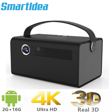 Smartldea New 4K 3D V7 projector android wifi bluetooth proyector portable home smart beamer Build in speaker with Zoom HDMI USB