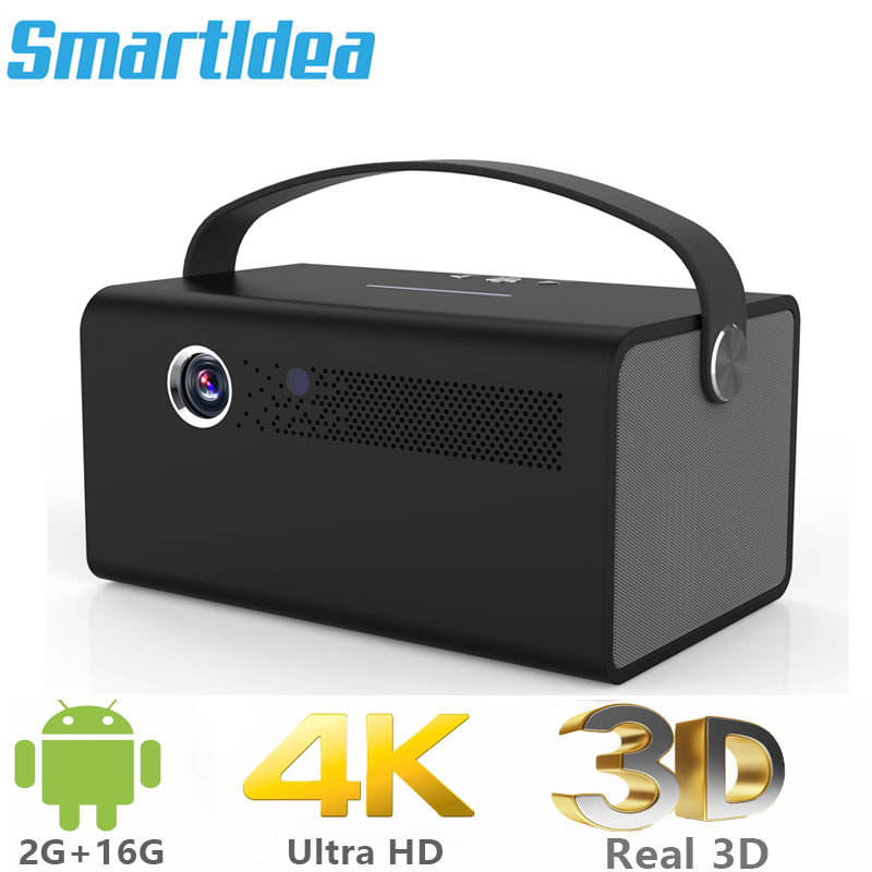 Smartldea New 4K 3D V7 projector android wifi bluetooth proyector portable home smart beamer Build in speaker with Zoom HDMI USB image