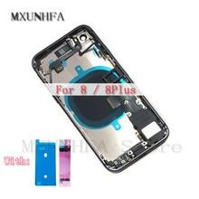 Habitação completa para iphone 8 plus 8g 8 p traseira porta da bateria de vidro capa traseira chassi quadro médio + cabo flexível montagem substituição