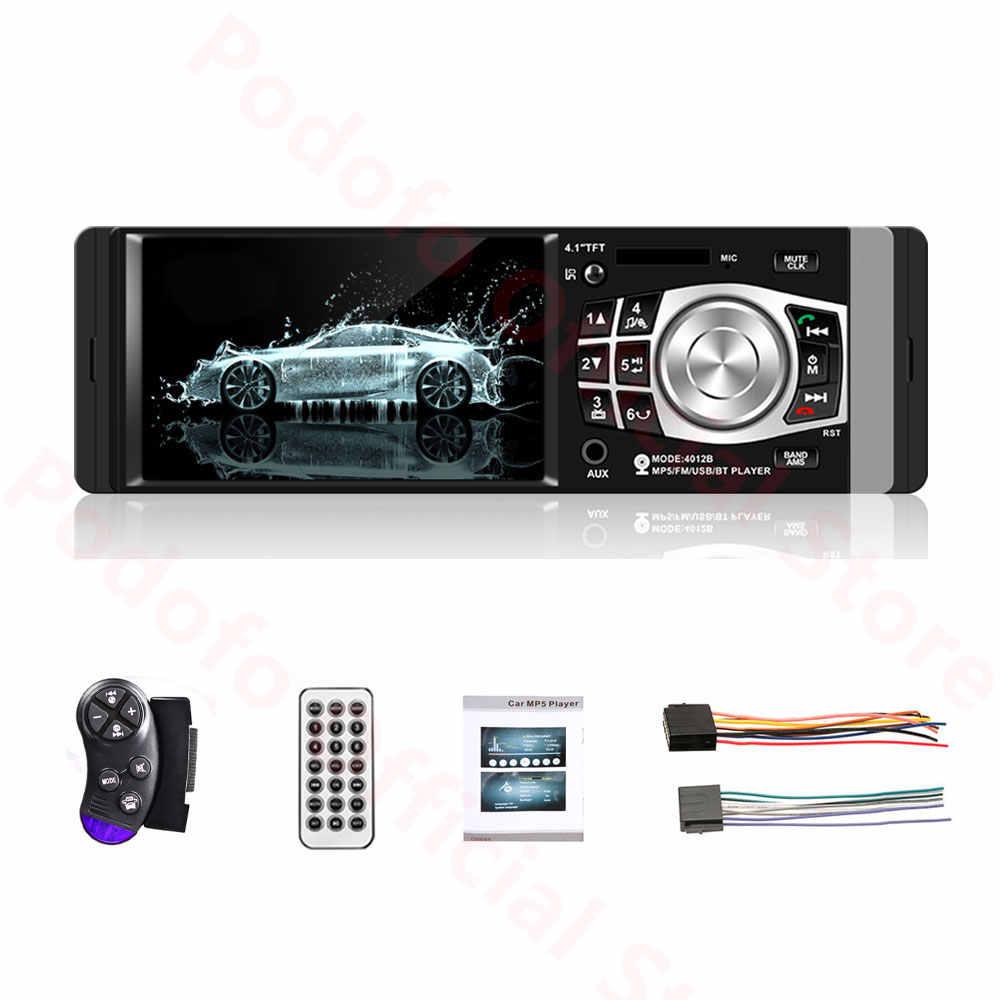 Podofo 1 Din autoradio Auto 4.1 ''HD Car Multimedia Player MP3 MP5 Audio Stereo radio Bluetooth FM telecomando lettore Video