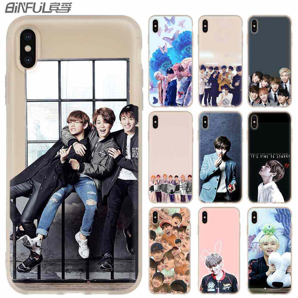 Miękkie etui etui na telefony dla iPhone 11 Pro Max X XS Max XR dla iPhone 5 5S SE 6S 6 4 4S 7 8 Plus Kpop Bangtan Boys Shell Case