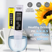 Portable LCD Digital PH Meter 0.01 + Tds Ec Tester Pena Air Kemurnian Ppm Filter Hidroponik untuk Aquarium Kolam Renang Anggur urin 40%(China)