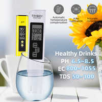 Portable LCD Digital PH Meter 0.01 + TDS EC Tester Pen Water Purity PPM Filter Hydroponic for Aquarium Pool Wine Urine 40%