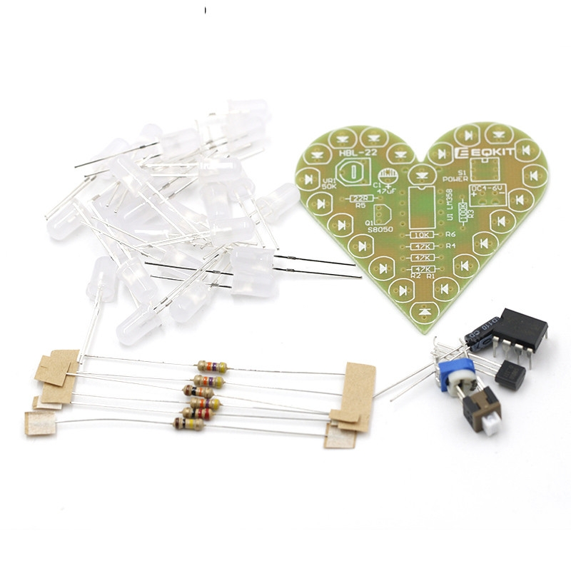 DIY Kit Heart Shape Breathing Lamp Kit DC 4V-6V Breathing LED Suite Red White Blue Green DIY Electronic Production For Learning