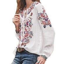 Свободные женские блузки с вырезом лодочкой, женские вечерние топы с принтом, повседневный Модный летний фонарик с рукавом из полиэстера, этнический