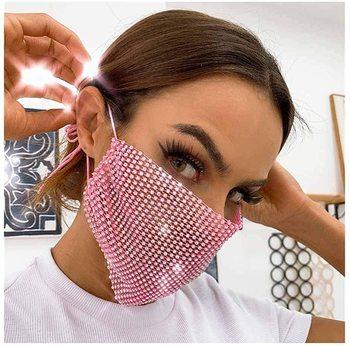Crystal Women Jewelry Face Maska Luxury Shiny Mesh Rhinestone Maskas Maske Statement Cool Face Accessories