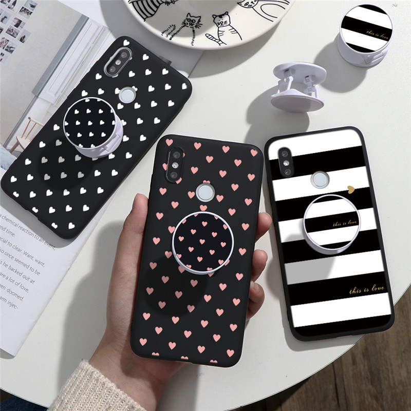 Phone Case For Xiaomi Redmi Note 5 6 7 8 8T Pro 7A 8A 5A 6A King Queen Heart Cover Redmi K30 K20 Pro Stand Holder Funda Silicone image