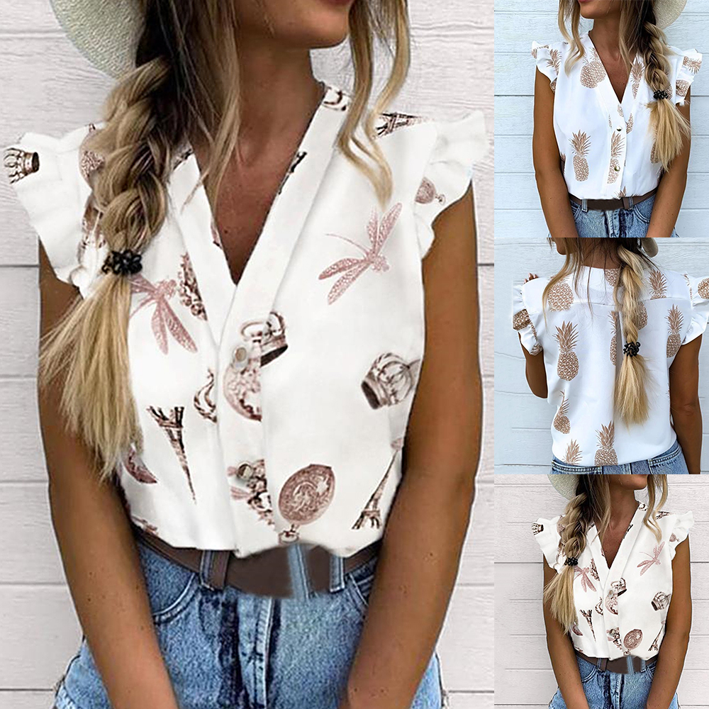 2020 Summer Women Vacation Leisure Blouse Female Holiday Girls Sweet Shirt Pineapple Print Flutter Sleeve Blusas Casual Blouse