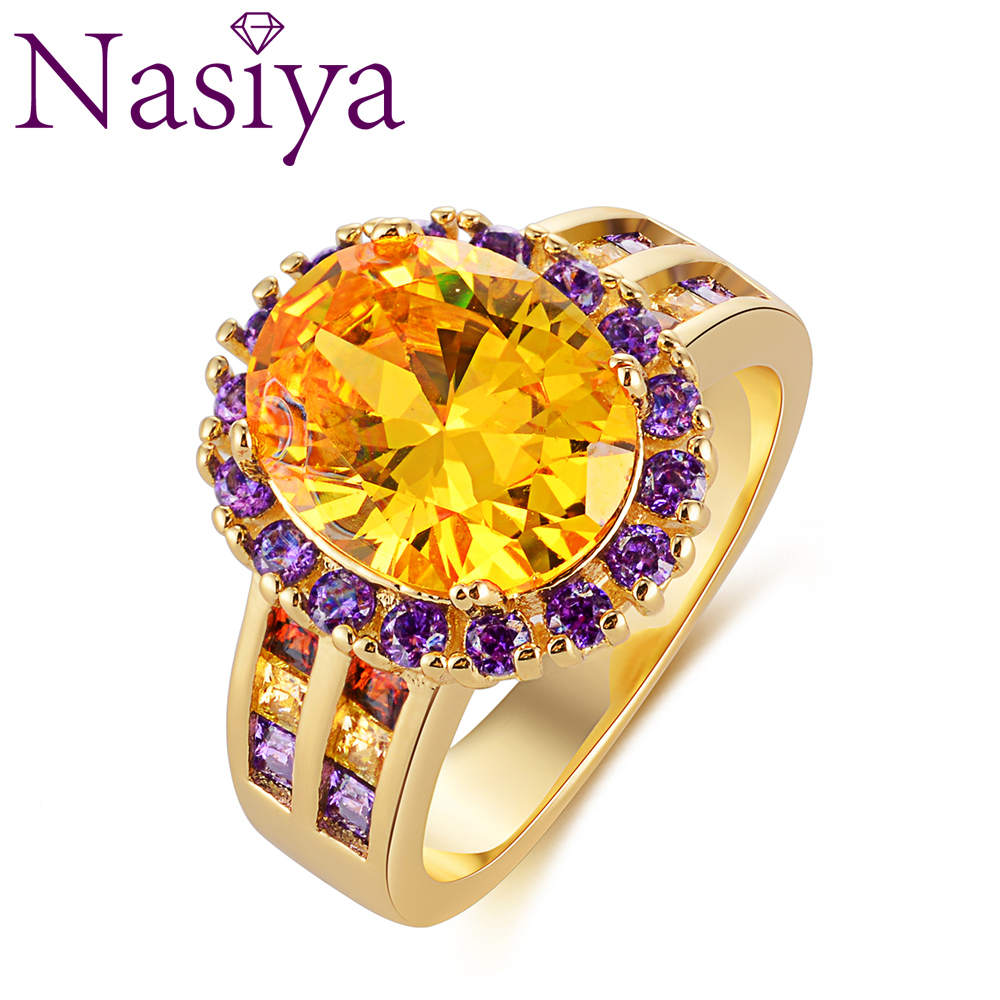 New Classic Golden Crystal Natural Oval Citrine Rings Solid 925 Silver Gemstone Ring For Women's Wedding Party Elegant Jewelry