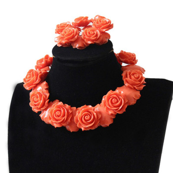 4UJewelry Jewellery Set 30mm Coral Flowers 18 Inches Necklace 8 Inches Bracelet with Earrings African beads Nigerian Wedding New