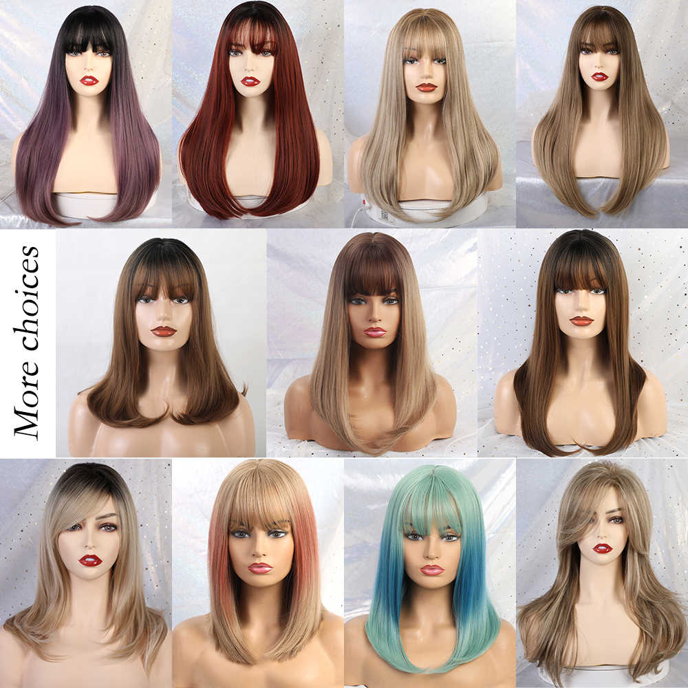 Blonde Unicorn Synthetic Long Silky Straight Hair Dark Root Ombre Light Brown Wigs with Neat Bangs for Women 11 Colors