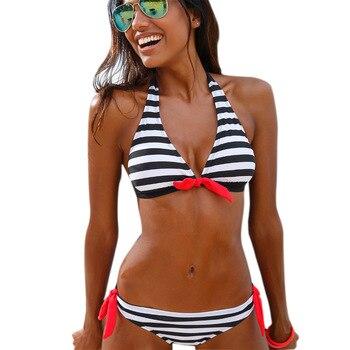 Womens Swimming Suit Sexy Bikini Swimsuit Swimwear Women Set Striped Push Up Beachwear Bathing 2020