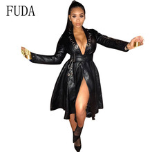 FUDA Hot Selling Explosive Eyelet Belt V-neck Coat Leather Long Jacket Newest Women Loose PU Windbreaker Trench
