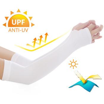 Długie rękawiczki słońce ochrona UV ochraniacz na dłoń okładka rękawy naramienne lodowy jedwab rękawy przeciwsłoneczne ramię zewnętrzne cieplej pół ochraniacze na palce tanie i dobre opinie LOOGU CN (pochodzenie)