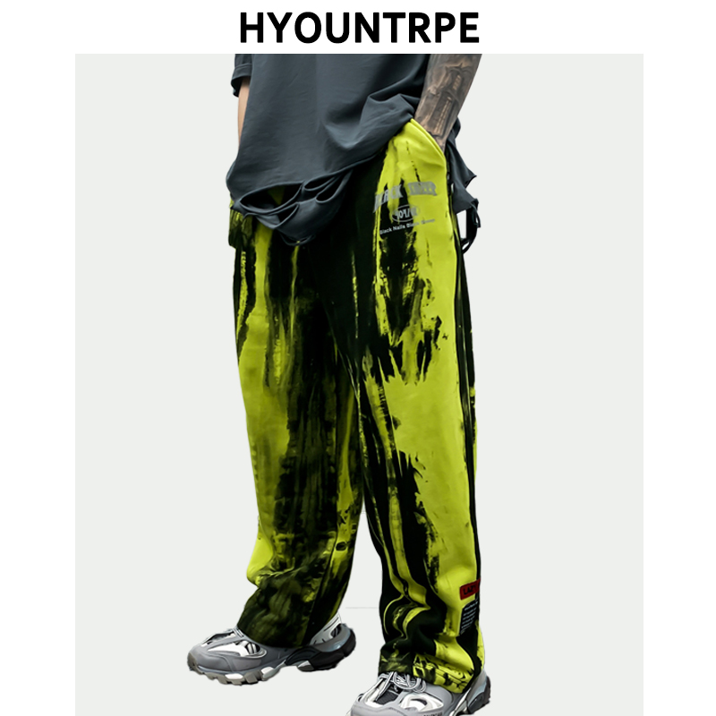 Irregular Tie-dyed Wide Leg Pants Mens Fashion Straight Elastic Waist Loose Sweat Pants Trouser Hip Hop Streetwear Casual Jogger