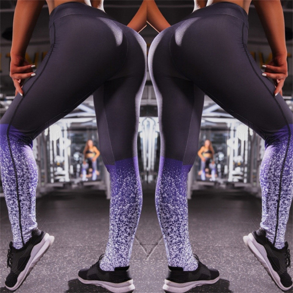 BEFORW 2019 Printed Slim Fitness Leggings Women Compression Push Up Leggins Clothing Workout Printing Patchwork Trousers