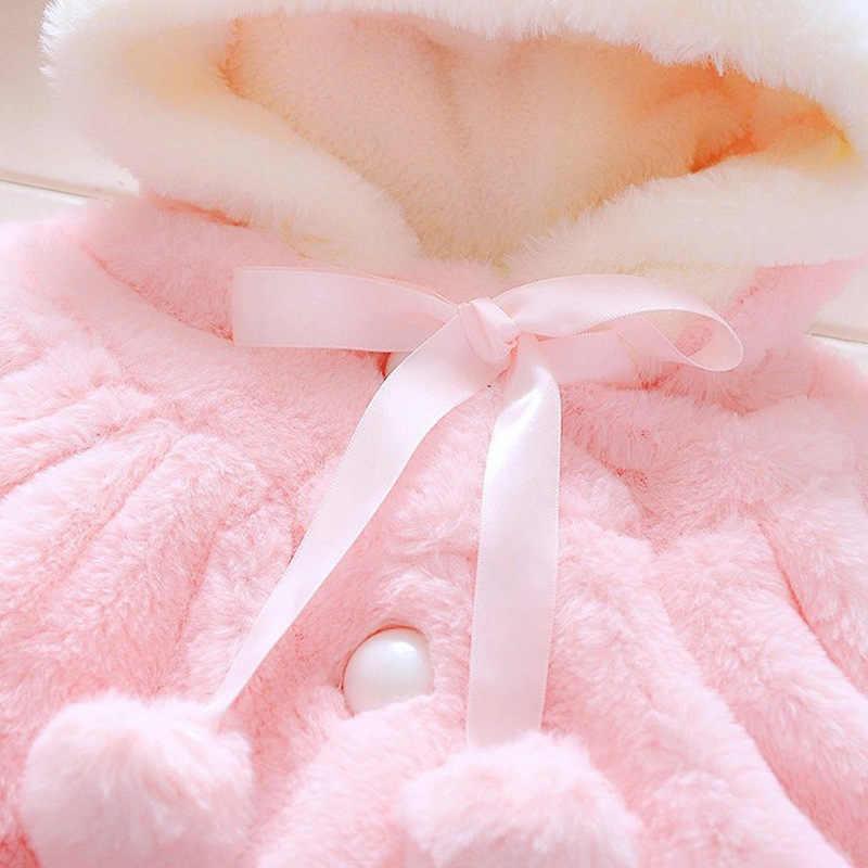 CALOFE Baby Girls Rabbit Ear Coat Cute Thicken Fur Cloak Kids Warm Winter Fleece Jacket Children Hooded Overalls Toddler Soft