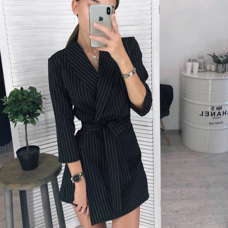 Women Casual Sashes Mini Dress Ladies Seven Sleeve V Neck Elegant Straight Dress 2020 New Fashion Summer Dress Vestidos