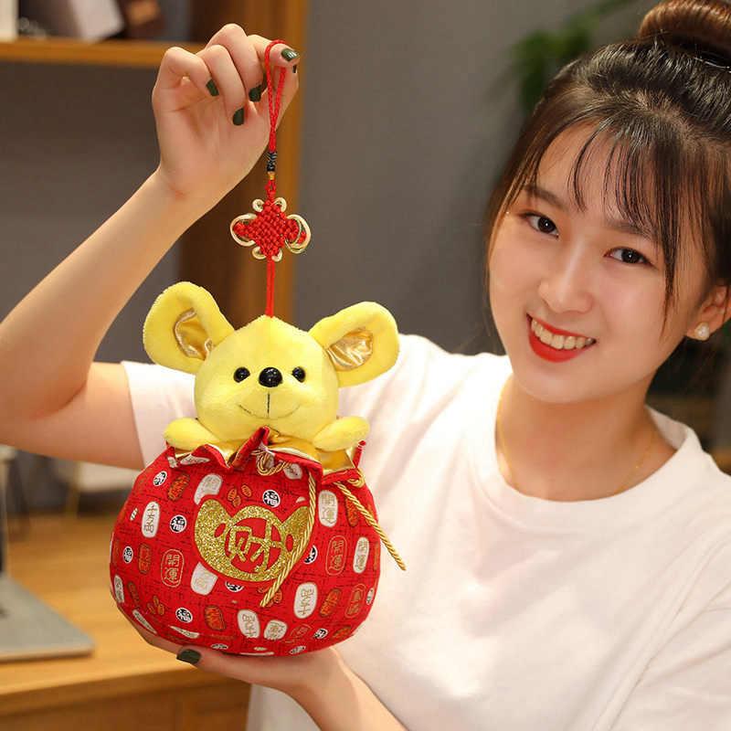1 PC 2020 Trung Quốc Năm Hoạt Hình Điềm Lành Túi May Mắn Chuột Sang Trọng Chuột Đường Phù Hợp Với Đồ Chơi Mềm Trung Quốc Năm Mới đảng Món Quà Trang Trí