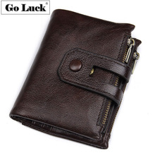 GO-LUCK Brand Genuine Leather Casual Pocket Wallet Men's Zipper Credit ID Cardholder Card Case Wallets Male Cowhide Purse