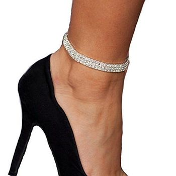 3-Row Three Row Sparkly Crystal Rhinestone Stretch Cz Tennis Ankle Chain Sexy Anklet Bridal Wedding Accessories for Women 1