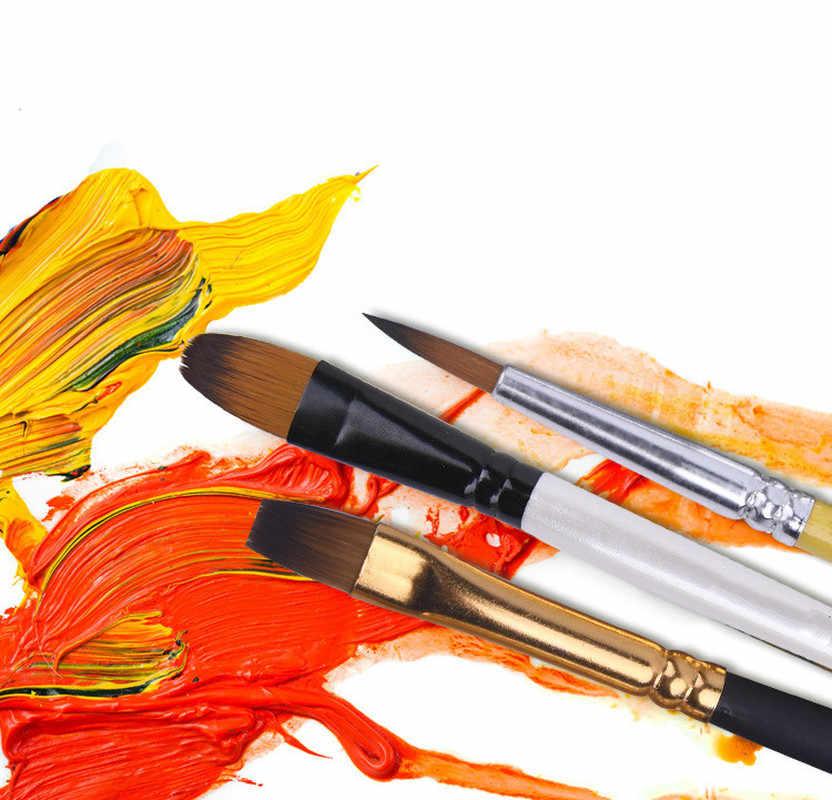 12 unids/set acuarela pelo nailon pinceles de pintura diferentes formas punta redonda plana Gouache conjunto de pinceles de pintura suministros de arte