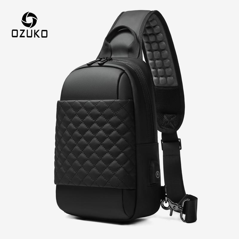 OZUKO Waterproof USB Charging Chest Pack For Men Short Trip Mobile Phone Crossbody Bag Messenger Bag 9.7 Inch IPad Sling Bags