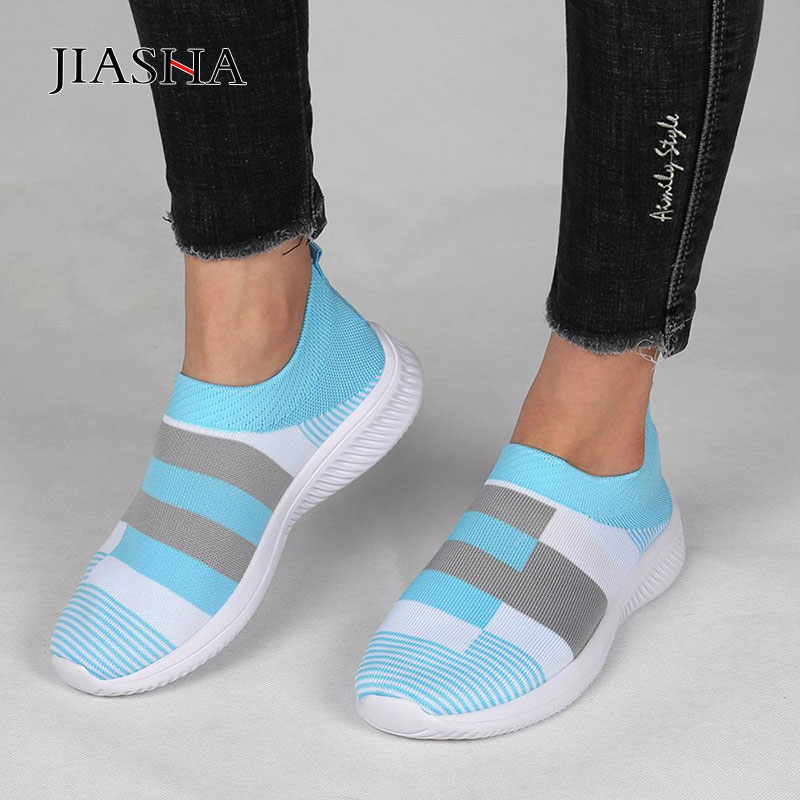 Women Flat Shoes Woman 2020 Fashion White Sneakers Women Shoes Casual Slip-on Mesh Socks White Shoes Ladies Tenis Feminino